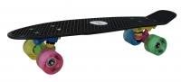 Akcija! No Rules Skateboard fun NEON skrituļdēlis ar gaismiņām, melns AU 293