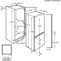 AEG iebūvējams ledusskapis (saldētava apakšā),178 cm SCB61821LS