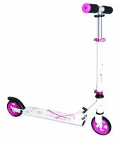 Jaunums! Muuwmi Aluminium Scooter skrejritenis 125 mm, balts/rozā AU 347