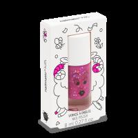 Nailmatic Kids bērnu nagu laka uz ūdens bāzes, SHEEPY – tumši rozā ar spīdumiem, 8 ml. SHEEPY