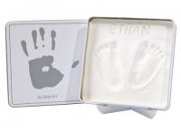 Baby Art Magic Box komplekts mazuļa pēdiņu/rociņu nospieduma izveidošanai, white&grey 34120159