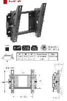 """14-32"""" TV stiprinājums pie sienas 45kg,15° regulējams slīpums,  melns KB-01-61"""
