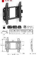 """14-32"""" TV stiprinājums pie sienas 45kg, melns KB-01-60"""