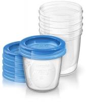 Philips Avent trauki ar vāciņiem krūts piena/ēdiena uzglabāšanai 180 ml (5gab) SCF619/05