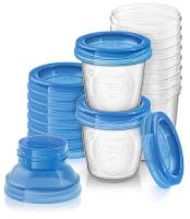 Akcija! Philips Avent trauki krūts piena/ēdiena uzglabāšanai 180 ml (10gab) +  2 adapteri SCF618/10