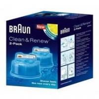 BRAUN maināmas kasetnes ar tīrīšanas šķidrumu skuvekļiem Clean&Renew CCR2