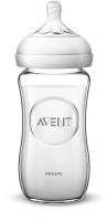 Jaunums! Philips Avent Natural stikla zīdaiņu pudelīte 240 ml, lēnas plūsmas knupītis 1m+ SCF053/17